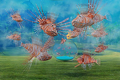 Underwater View Digital Art - The Little Fish by Betsy Knapp