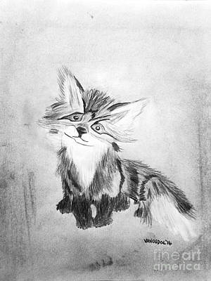 Southern Indiana Drawing - The Little Fox - Black And White by Scott D Van Osdol