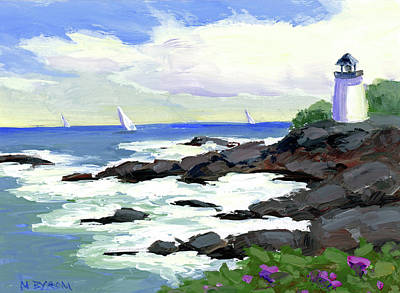 Ogunquit Marginal Way Painting - The Little Light House by Mary Byrom