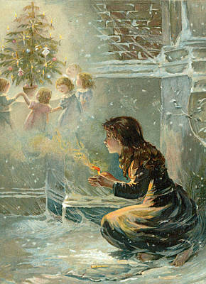 Winter Light Drawing - The Little Match Girl by English School