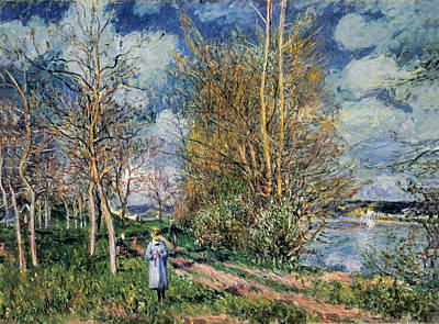 Grey Clouds Photograph - The Little Meadows In Spring by Alfred Sisley