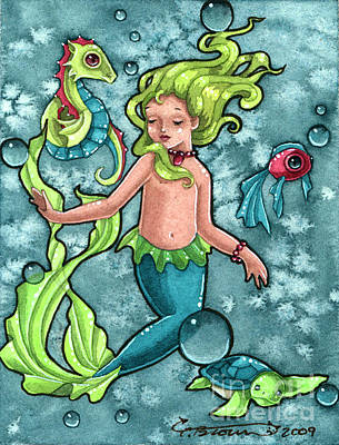 Christi Brown Painting - The Little Mermaid by Christi Brown