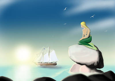 Little Mermaid Digital Art - The Little Mermaid by Jozef Klinga
