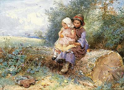 Drawing - The Little Nurse by Myles Birket Foster