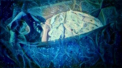 Digital Art - The Little Prince Floating In Box On A Sea Of Dreams With Chaotic Swirls And Waves Of Thought Hope Love And Freedom Portrait Of A Boy Sleeping In A Cardboard Box On An Ocean Of Inspiration by MendyZ
