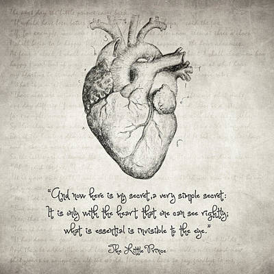 Heart Wall Art - Drawing - The Little Prince Quote by Zapista