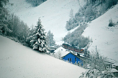 Wall Art - Photograph - The Little Red Train - Winter In Switzerland  by Susanne Van Hulst
