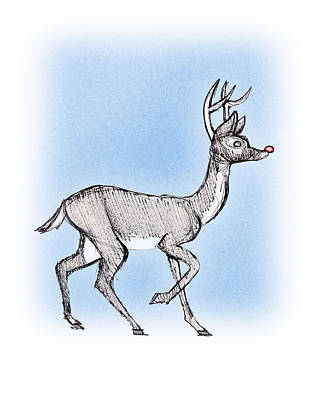 Art Print featuring the drawing The Little Reindeer  by Keith A Link