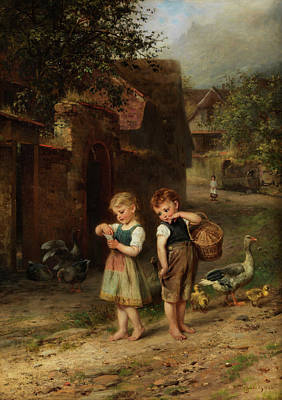 Rooftops Painting - The Little Shepherd Geese by Anton Heinrich Dieffenbach