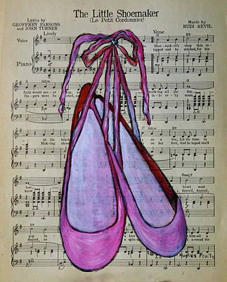 Shoemaker Painting - The Little Shoemaker Music With Dance Shoes by Linda Hughes-Fonte