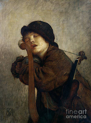 Music Painting - The Little Violinist Sleeping by Antoine Auguste Ernest Hebert