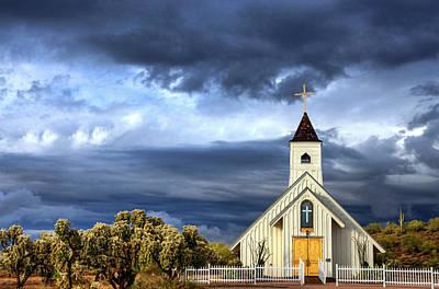 Photograph - The Little White Chapel In The Desert  by Saija  Lehtonen