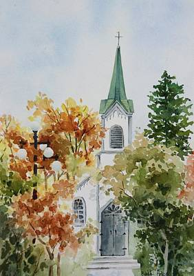 The Little White Church Art Print by Bobbi Price