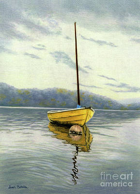Rowboat Painting - The Yellow Sailboat by Sarah Batalka