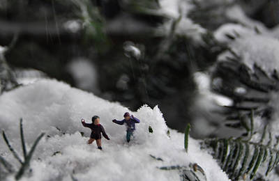 Photograph - The Little's Start A Snowball Fight  by Joanne Brown