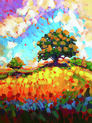 Wall Art - Painting - The Live Oak On The Hill by Charles Wallis