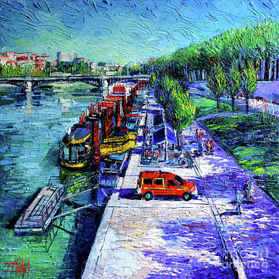 The Lively Banks Of Lyon - Modern Impressionist Palette Knife Oil Painting On Canvas Original