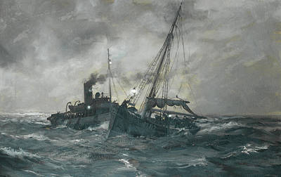 Water Vessels Painting - The Liverpool Tug Calgarth by Montague Dawson