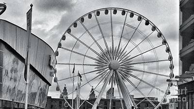 Photograph - The Liverpool Wheel In Black And White by Joan-Violet Stretch