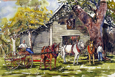 Horse And Buggy Painting - The Livery by Shirley Sykes Bracken