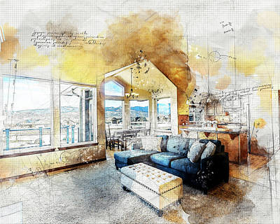 Digital Art - The Living Room by Anthony Murphy