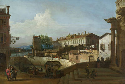 Painting - The Lock At Dolo by Bernardo Bellotto