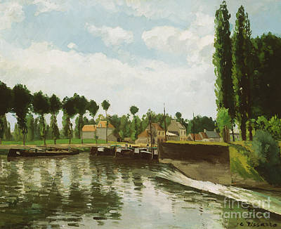 Lock Painting - The Lock At Pontoise by Camille Pissarro