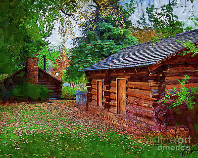Digital Art - The Log Cabins by Kirt Tisdale