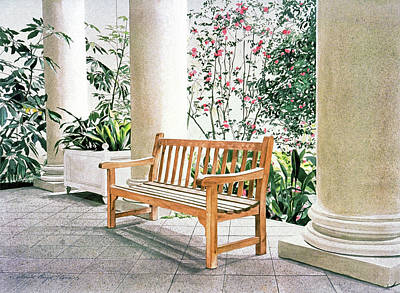 Landmarks Painting Royalty Free Images - The Loggia at The Virginia Steele Scott Galleriy of American Royalty-Free Image by David Lloyd Glover