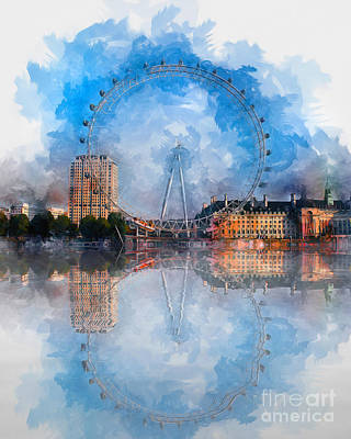 Mixed Media - The London Eye by Ian Mitchell