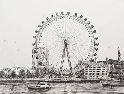 Pen Drawing - The London Eye by Vincent Alexander Booth