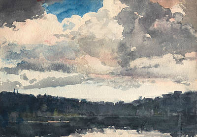 Painting - The Lone Boat North Woods Club Adirondacks by Winslow Homer