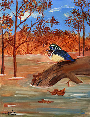 Art Print featuring the painting The Lone Duck by Swabby Soileau