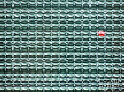 Sports Royalty-Free and Rights-Managed Images - The Lone Red Seat at Fenway Park by Keith Ptak