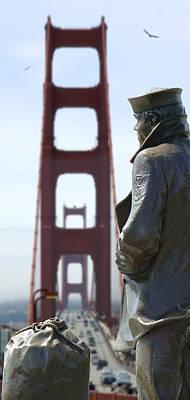 Golden Gate Bridge Digital Art - The Lone Sailor by Mike McGlothlen