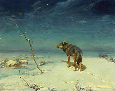 Snowy Night Painting - The Lone Wolf by Alfred Wierusz-Kowalski