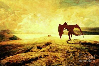 Fantasy Royalty-Free and Rights-Managed Images - The Lonely Dragon by Mary Bassett by Esoterica Art Agency
