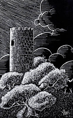 Drawing - The Lonely Tower by Bard Algol