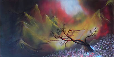 Visionary Art Drawing - The Lonely Tree In The Mountain by Arun Sivaprasad