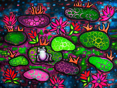 Lilly Pond Painting - The Lonesome Frog II by Brenda Higginson