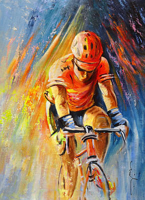 Sports Paintings - The Lonesome Rider by Miki De Goodaboom