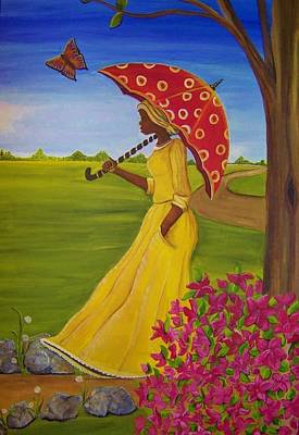 Gullah Art Painting - The Long Road Home by Sonja Griffin Evans