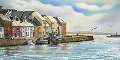 Painting - The Long Walk Claddagh Galway by Irish Art