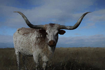 Digital Art - The Longhorn Da by Ernie Echols
