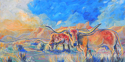Painting - The Longhorns by Jenn Cunningham
