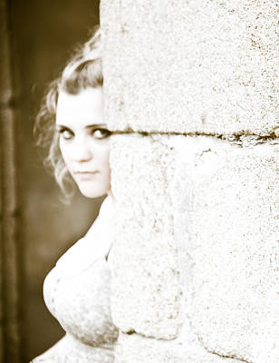 Hiding Photograph - The Look Behind The Pillar by Loriental Photography