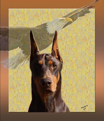 Doberman Pinscher Pop Art Photograph - Dobermans..the Look Of The Eagle by Maria C Martinez