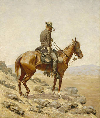 Western Horse Painting - The Lookout by Frederic Remington