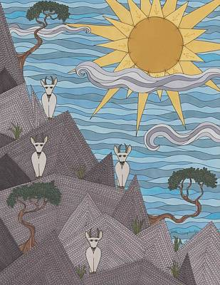 Mountain Goat Drawing - The Lookout by Pamela Schiermeyer