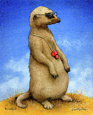 Meerkat Wall Art - Painting - The Lookout... by Will Bullas